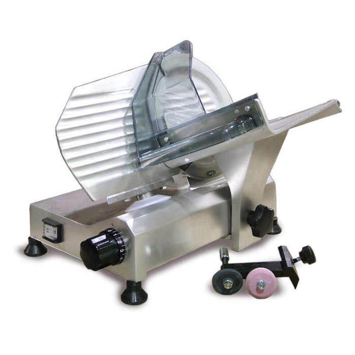 "<img src=""https://cdn.shopify.com/s/files/1/0084/6109/0875/products/OC195MS_1__2.jpg?v=1572108655"" alt=""Omcan Meat Slicer, Gravity Feed, 8"" Dia. Carbon Steel Blade"">"