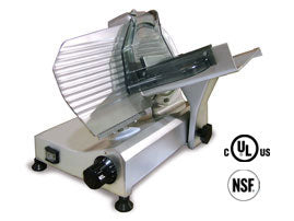 Omcan Meat Slicer, Carbon Steel Blade, Anodized Aluminum Body - FoodEquipmentDirect