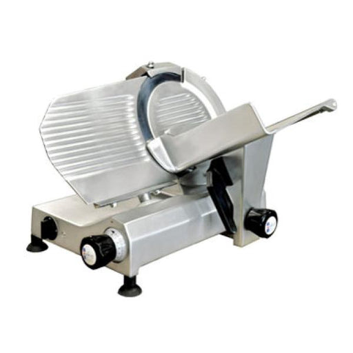 "Omcan Gravity Meat Slicer, 10"" Dia. Carbon Steel Blade, Anodized Aluminum Body - FoodEquipmentDirect"