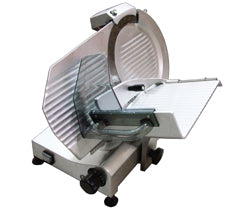 "Omcan Gravity Meat Slicer, 11"" Dia. Carbon Steel Blade, Belt Driven Blade Attachmentss, Anodized Aluminum Body - FoodEquipmentDirect"