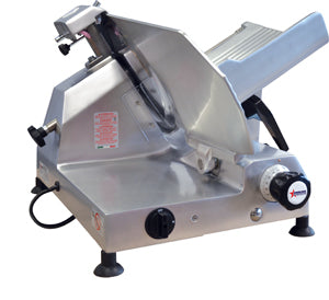 Omcan Meat Slicer, Manual, Gravity Feed, Belt Driven Blade Attachmentss, Anodized Aluminum Body, 1/2 HP - FoodEquipmentDirect