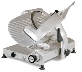 Omcan Meat Slicer, Manual, Gravity Feed, Carbon Steel Blade, Gear Driven Blade Assembly, Anodized Aluminum Body
