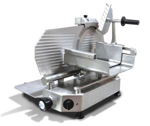 Omcan Meat Slicer, Manual, Gravity Feed, Belt Driven Blade Attachmentss, Anodized Aluminum Body, Built-In Blade Sharpener - FoodEquipmentDirect