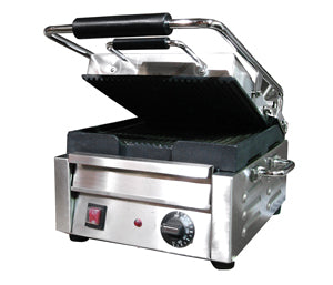Omcan Sandwich Grill Single & Double, Ribbed Top & Bottom Grilling Surface - FoodEquipmentDirect