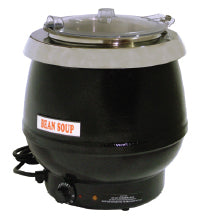 Omcan SB6000B (19072) Black Soup Kettle with Plastic Lid, 10 L Capacity, 400 W - FoodEquipmentDirect