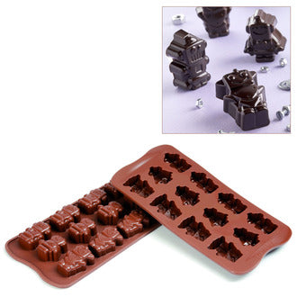 Silikomart SCG18 Robot Choc Chocolate Mold, Make 12 Pieces From 0.30 to 0.35 oz