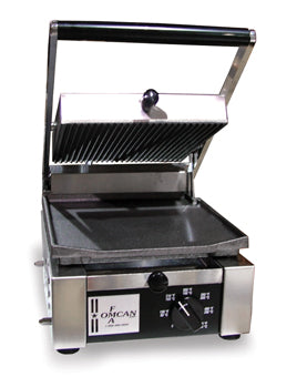 "Omcan SG101FBR (11376) Sandwich Grill, 10"" x 9"" Grill Surface, Ribbed Top & Flat Bottom Grilling Surface - FoodEquipmentDirect"