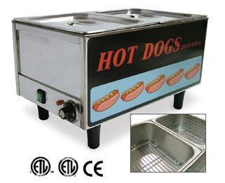 Omcan TS9999 (17133) Hot Dog Steamer, Table Top, Side By Side Hot Dog Steamer/Bun Warmer