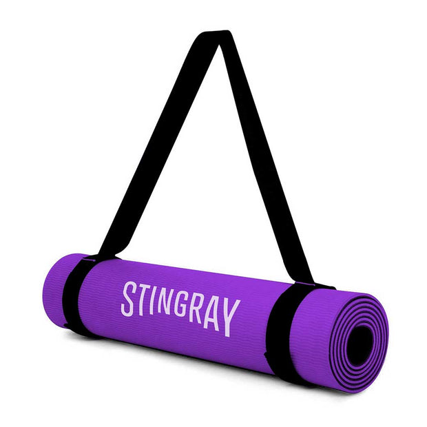 Tapete Yoga STINGRAY FITNESS 10mm 180x60cm con Correa Morado SFTAP-10MM-CB-PV