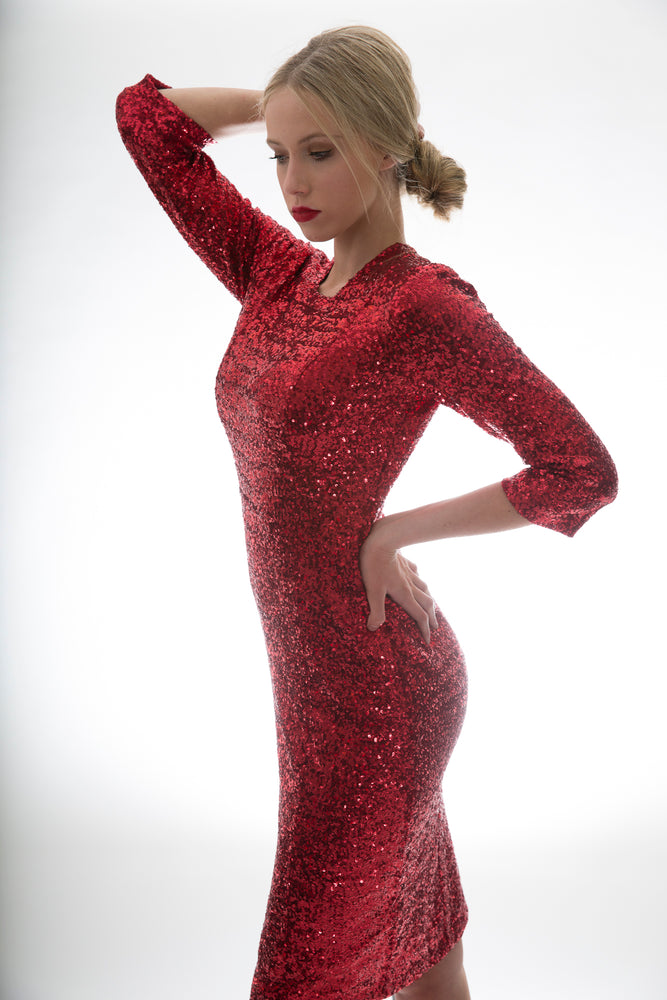 Sequin Dress 3/4 Sleeves Red