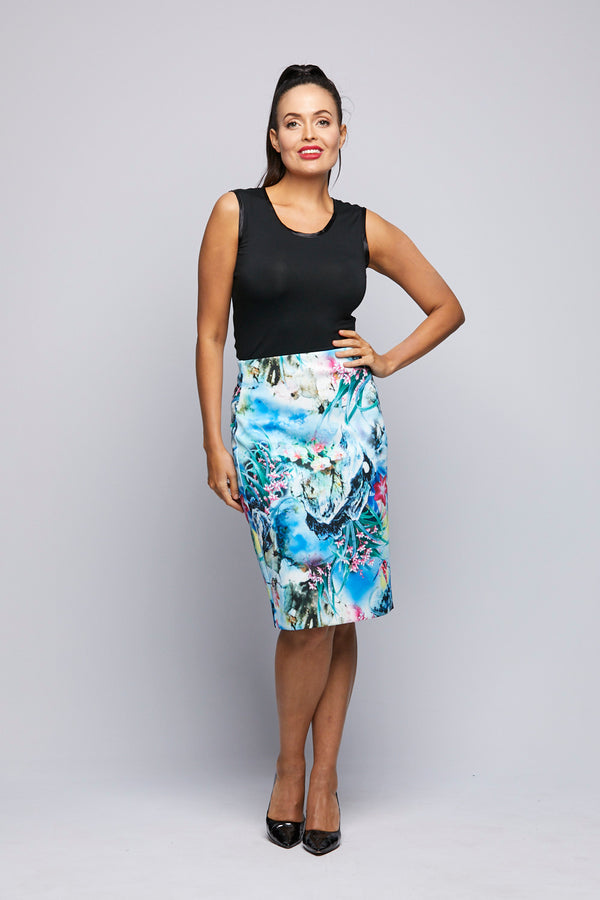 Printed Knit Skirt - Under the Sea