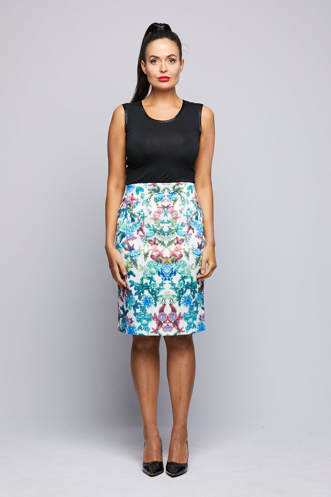 Printed Knit Skirt - Blue Green