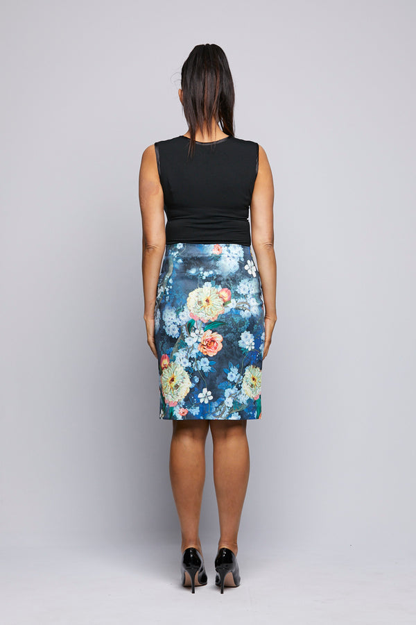 Printed Knit Skirt - Orange Flowers
