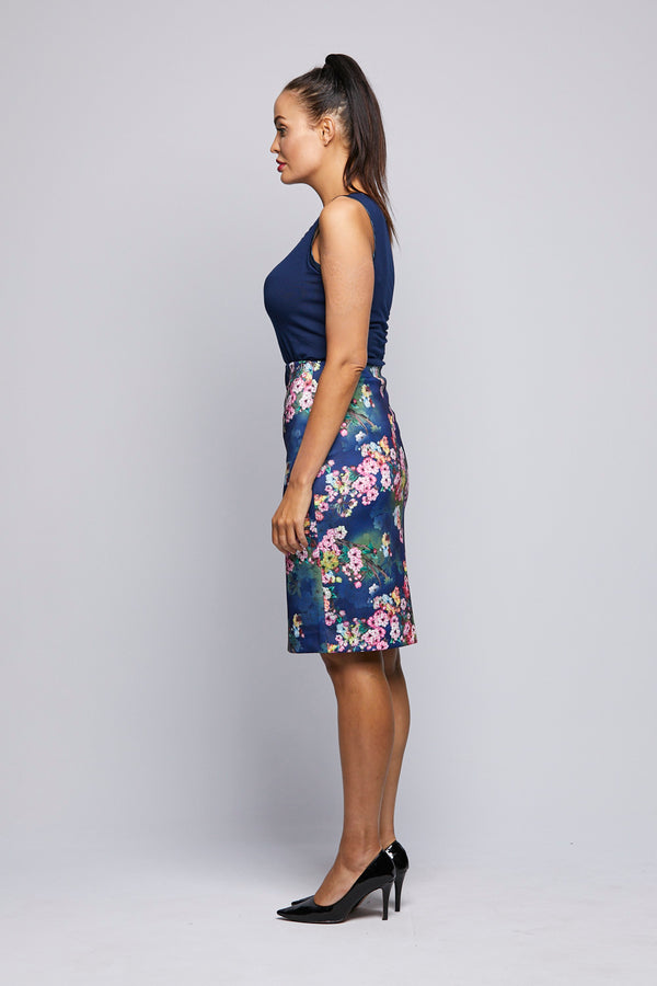Printed Knit Skirt - Pink Flowers