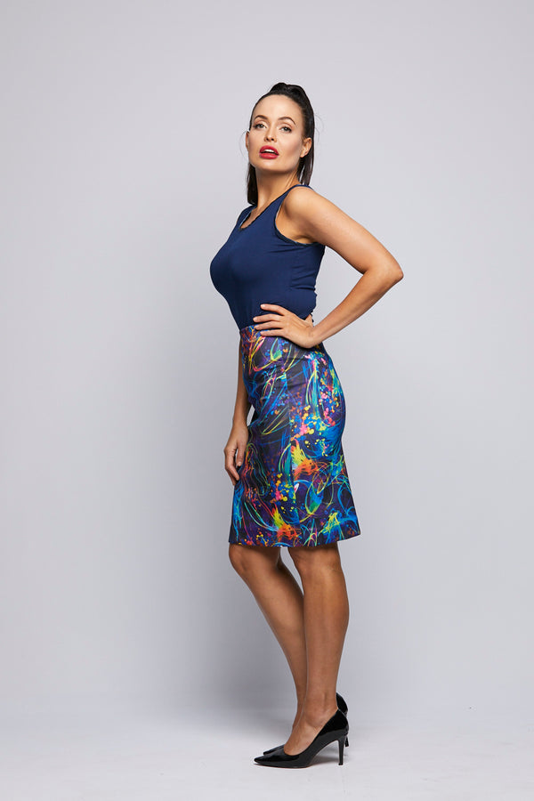 Printed Knit Skirt - Multi Colour