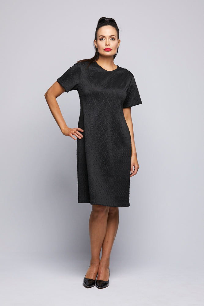 Black Short Sleeve Pannel Dress