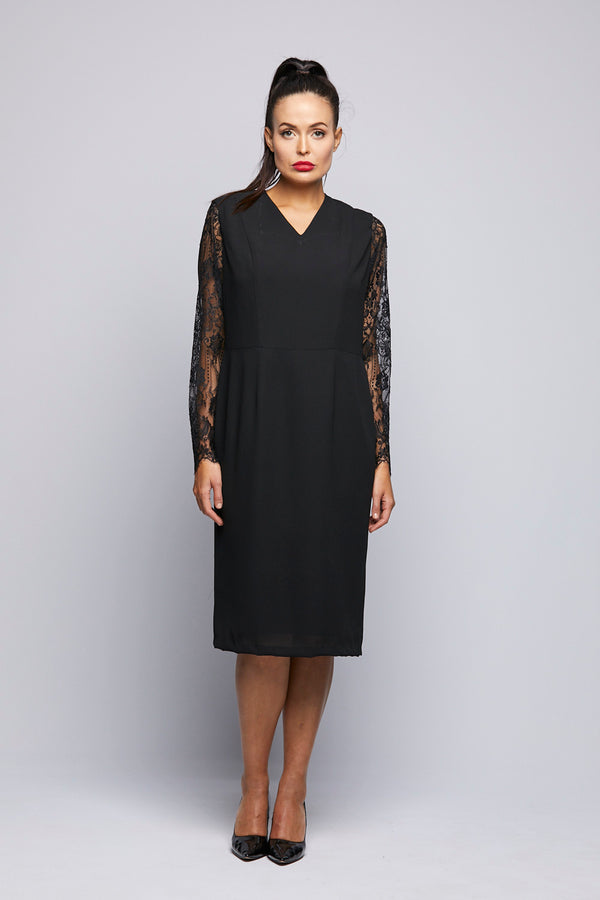 Crepe Dress with Lace Sleeves