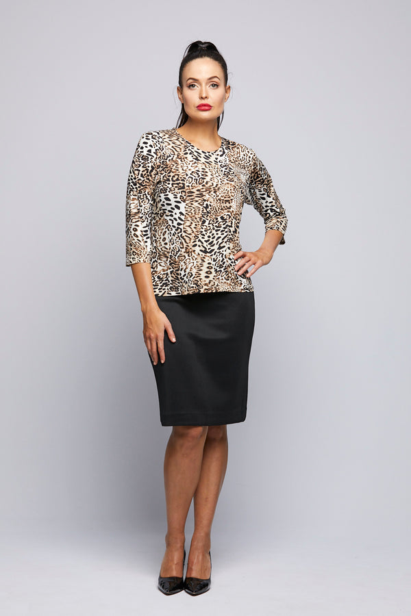 Leopard Print 3/4 Sleeve Top