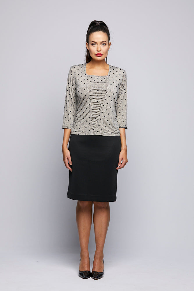 Poka Dot Rouched Jersey Top