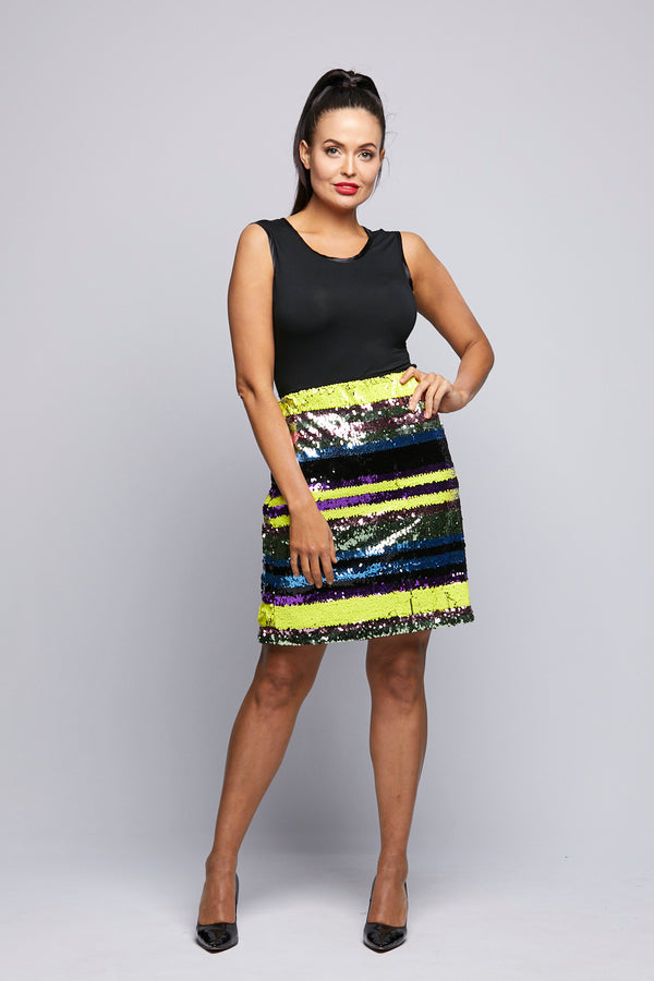 Sequin Skirt Multi Coloured Printed