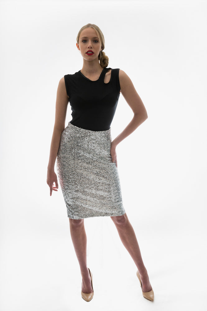 Stretch Sequin Skirt Silver