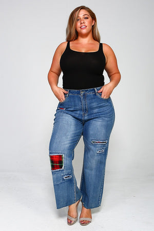 Plus Size High Waist Plaid Jeans