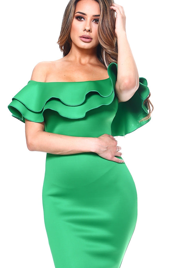 Elegant Flounce Midi Dress - Green