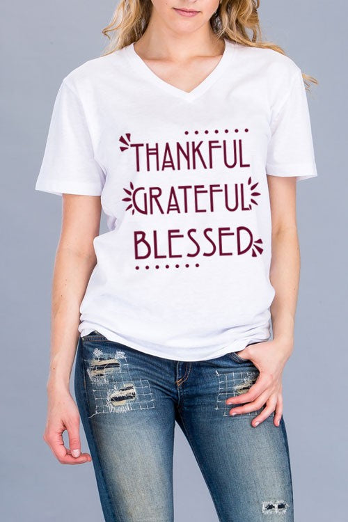 """Thankful, Grateful, Blessed"" Graphic Top"