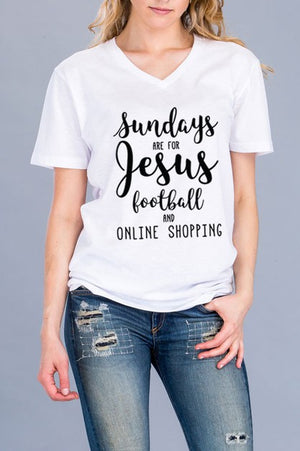 """Sundays are for Jesus, Football and Online Shopping"" Graphic Top"