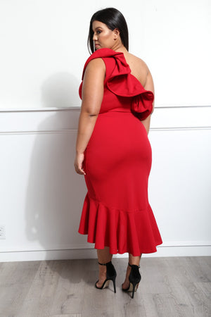 One Shoulder Midi Dress - Red