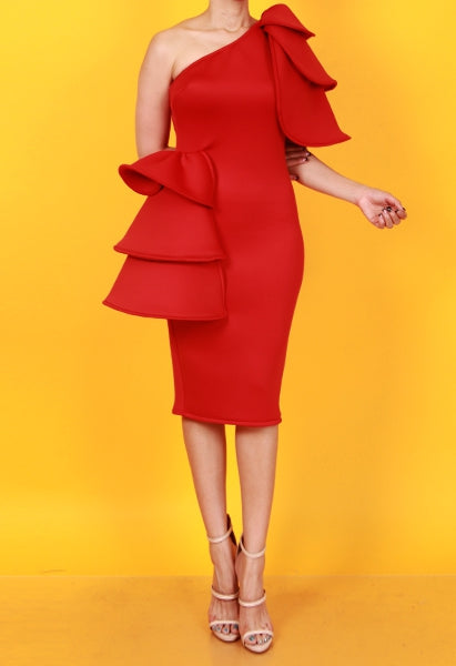 Power One Shoulder Ruffle Midi Dress