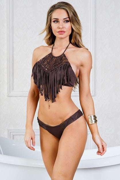 Brown Fringe Scoop Top 2-Piece Swimsuit