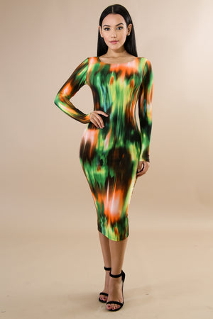 TIED TO YOUR LOVE TIE DYE DRESS - GREEN MULTI