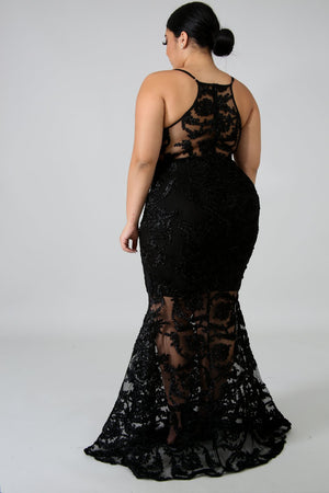 Black Lace Mermaid Dress
