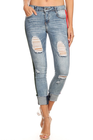 Light Blue Ripped Side Ponte  Skinny Jeans