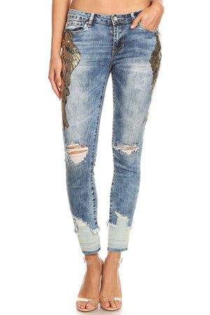 Acid Wash Gold Wings Skinny Jeans
