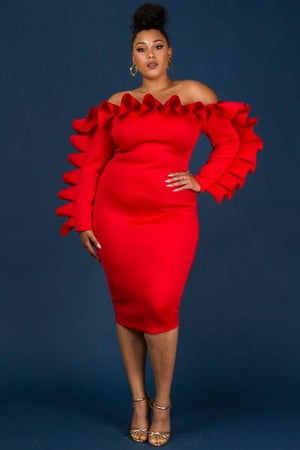 Red Off Shoulder Ruffle Fitted Dress