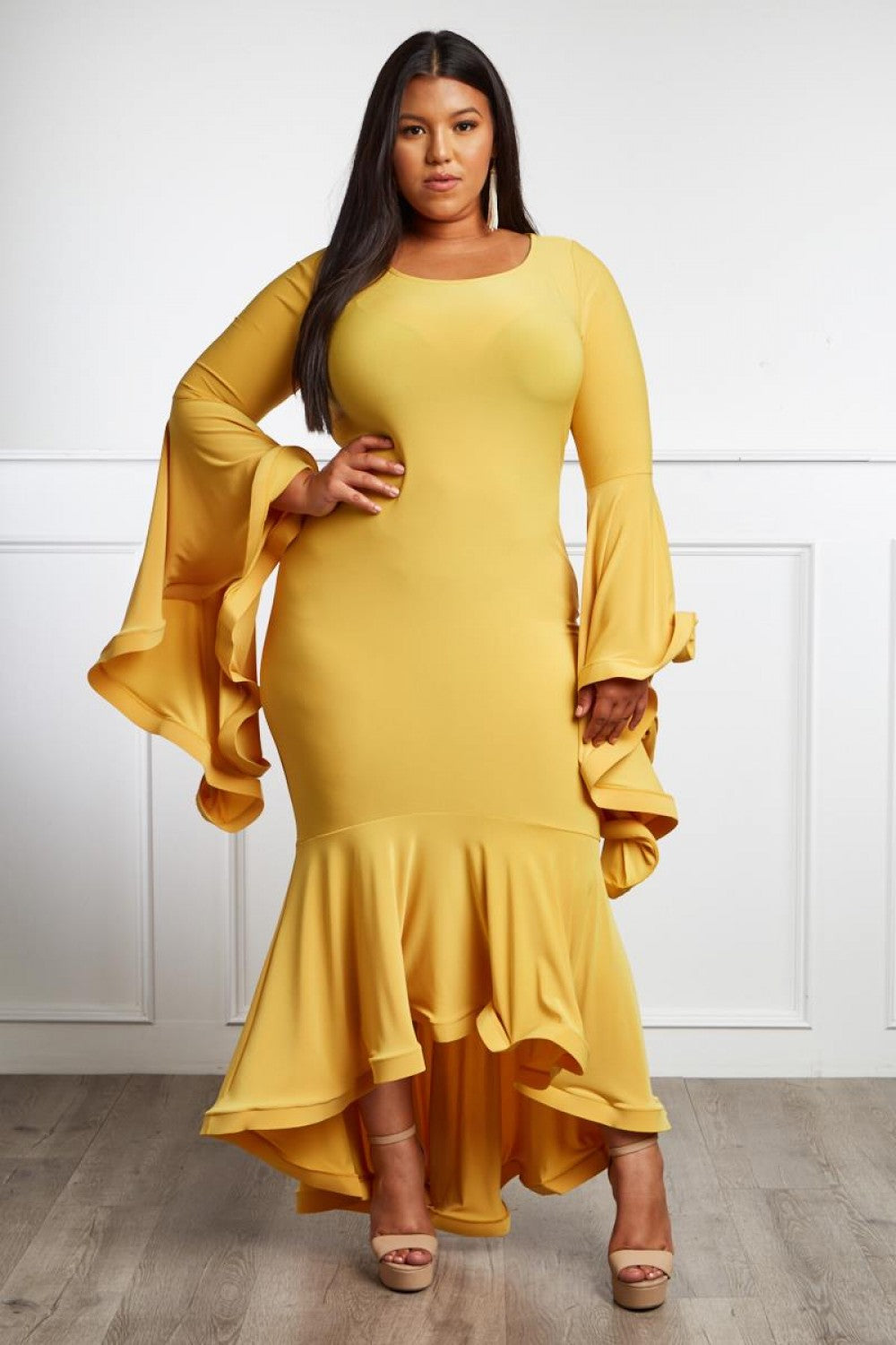 Midtown High Low Maxi Dress - Yellow