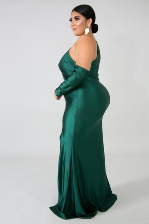 Tasha Slit Maxi Dress - Hunter Green