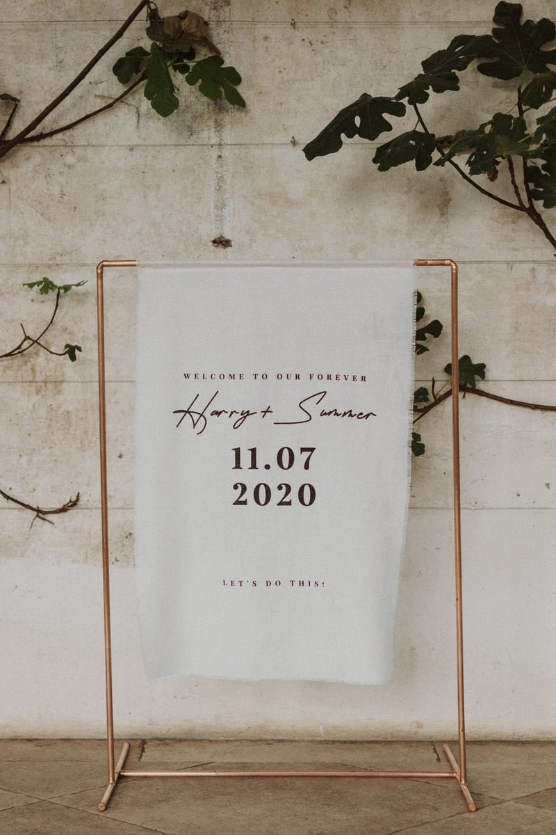linen wedding welcome sign