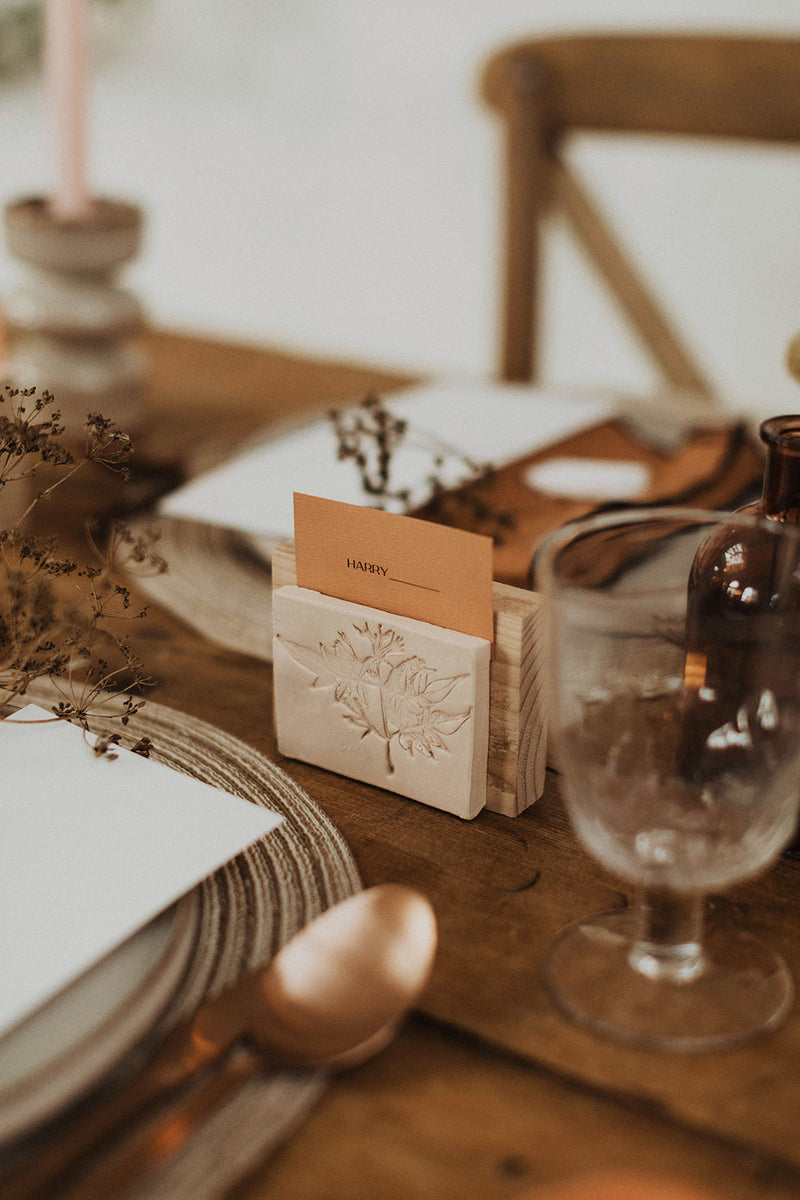 Wooden Place Card Holder - Clay Rose