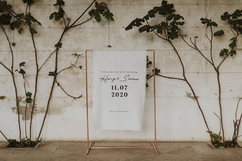 linen wedding welcome sign landscape