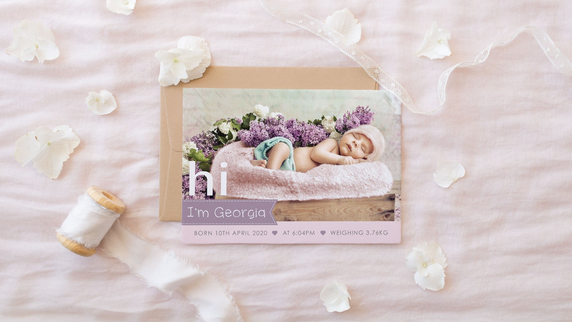 Baby birth announcement photo cards, professionally designed and printed in Australia. Photo baby thank you cards.
