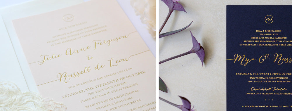 Wedding Invitations with gold foil, blush and gold, navy blue and gold weddings