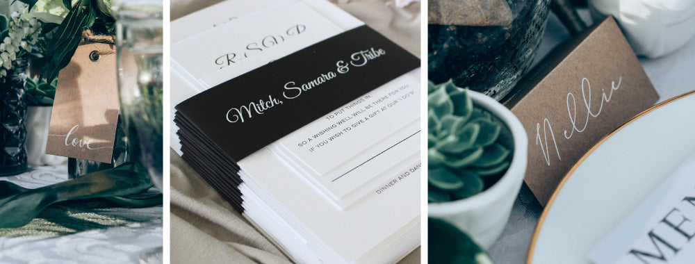 White Ink printing on wedding invitations and place cards