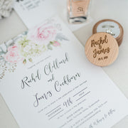 Wedding invitation with soft pink florals and modern script font, designed and professionally printed in Australia