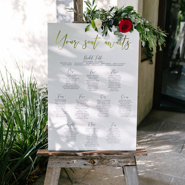 Foil Wedding Seating Chart, Gold, Silver and Rose Gold Foil, Elegant Glam Seating Plan