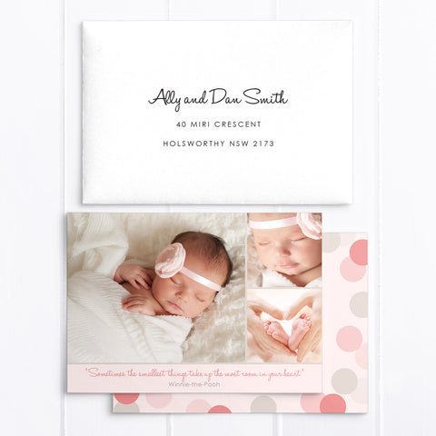 Baby girl birth announcement card with 3 photos. Soft pinks and grey