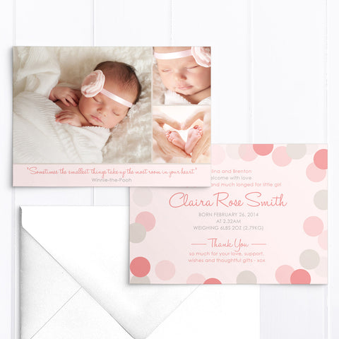 Baby girl birth announcement card, 3 photos in soft pinks and grey
