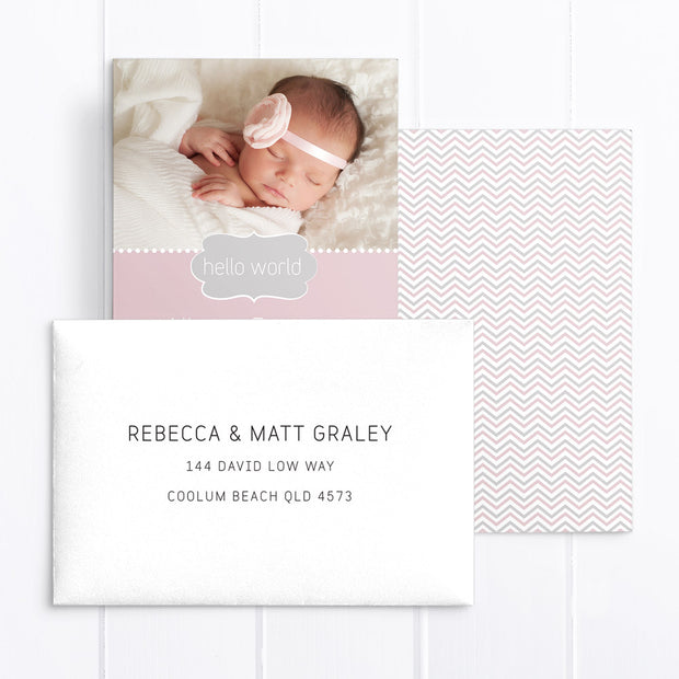 Baby girl photo birth announcement card, double sided, pink and grey